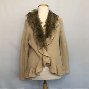 Chico's tan knit cardigan with faux fur edge 16